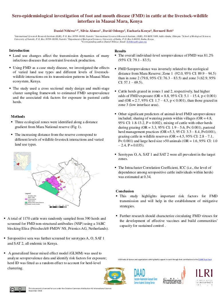 Sero-epidemiological investigation of foot and mouth disease