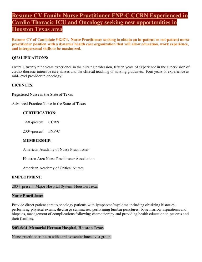 Fnp Ccrn Icu Medical Resume Cv