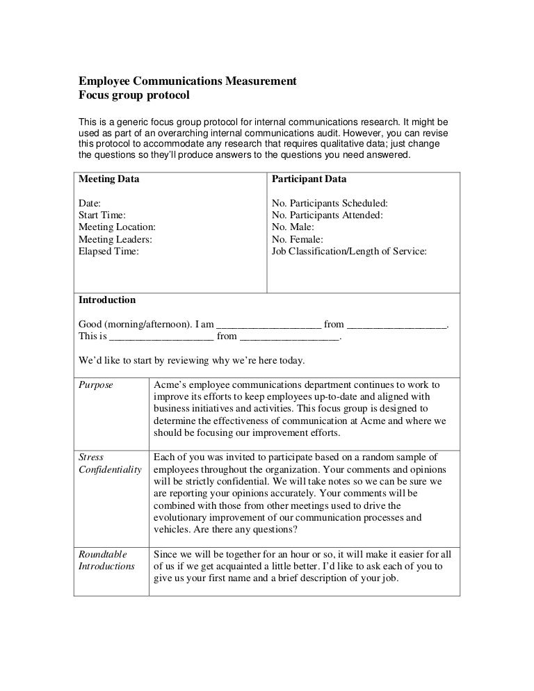 Employee communications focus group protocol for Protocol document template