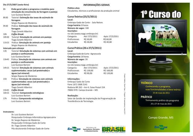Programação do I curso do EMBRAPA INVERNADA