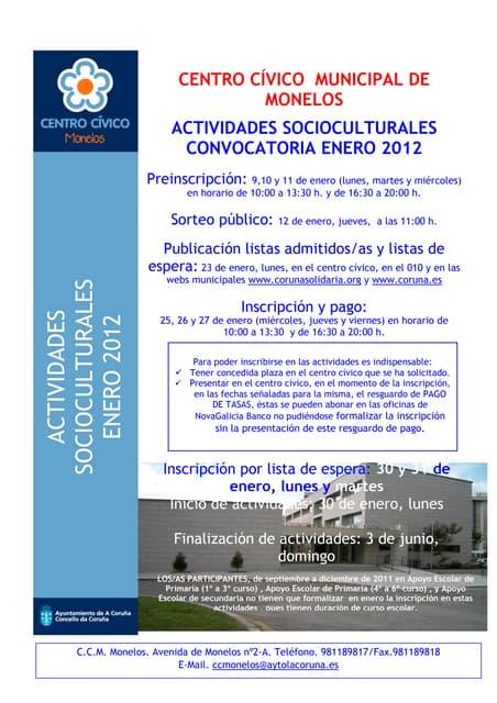 Folleto enero 2012 - PROGRAMA CENTRO CIVICO MUNICIPAL - MONELOS