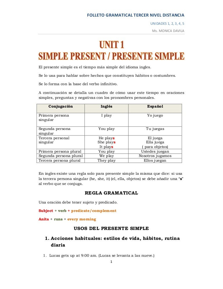 Folleto Gramatical 1 Tercer Nivel Distancia
