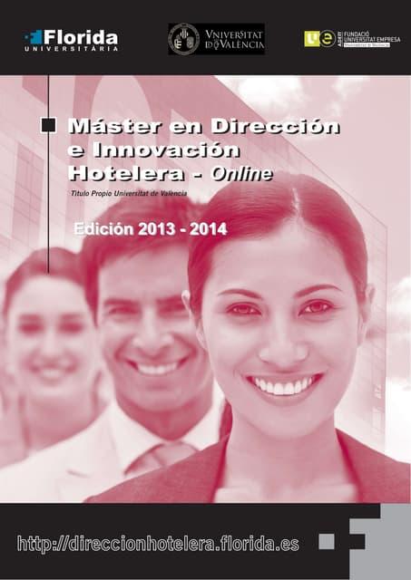 Máster en Dirección e Innovación Hotelera - Información completa