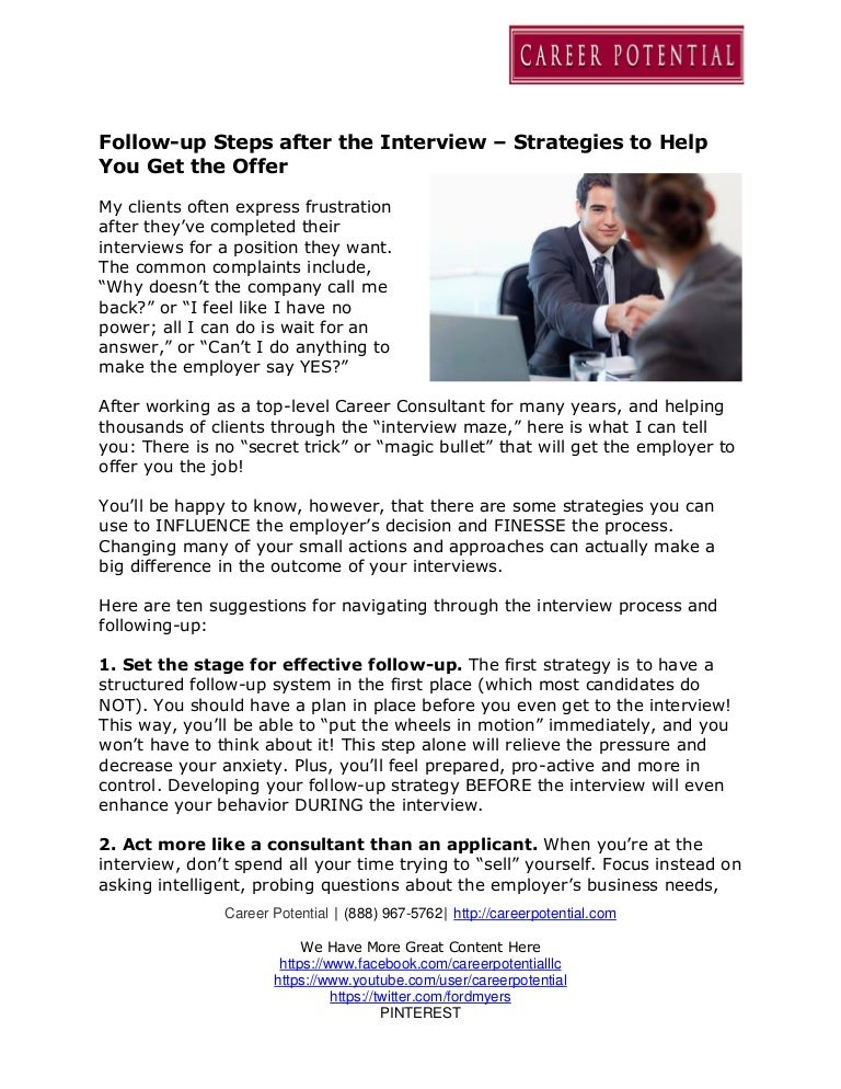 Followup Steps after the Interview Strategies to Help You Get the