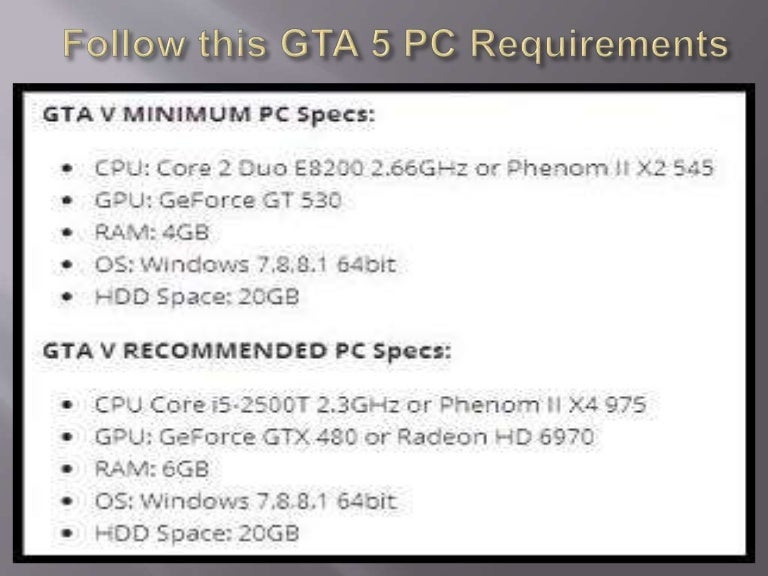 gta 5 requirements for pc