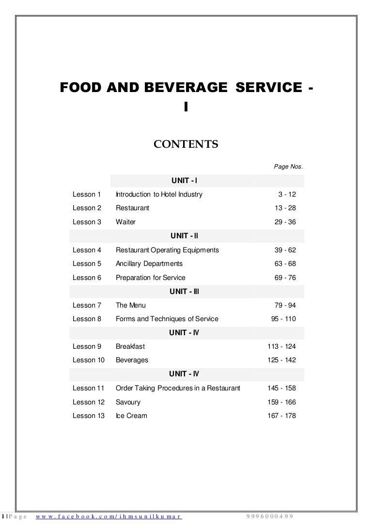 Food Beverage Service Basic Notes