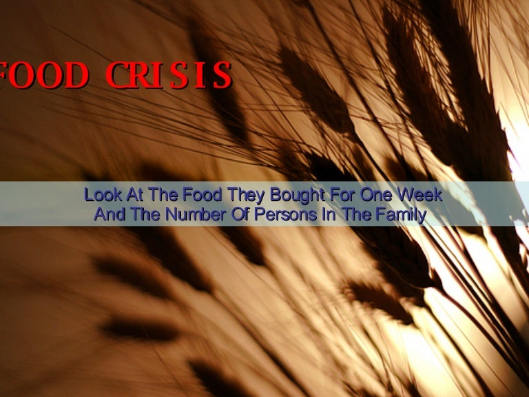 food crisis world food consumption comparison