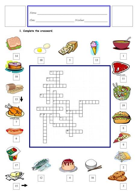 Healthy Crossword Puzzles