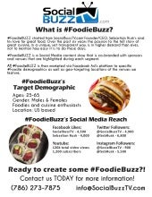 SocialBuzzTV.com - #FoodieBUZZ ONE SHEET