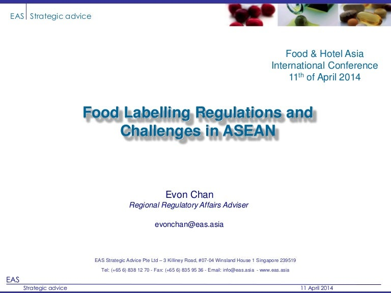 Food Labelling Regulations and Challenges in ASEAN