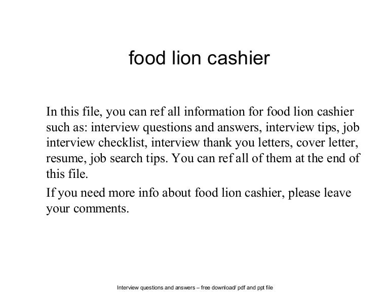 Food Lion Cashier