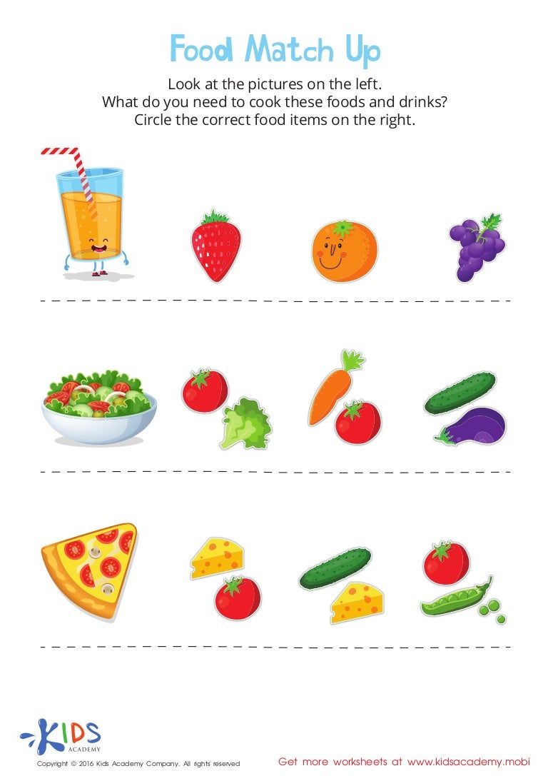 Food Match Up For Kids