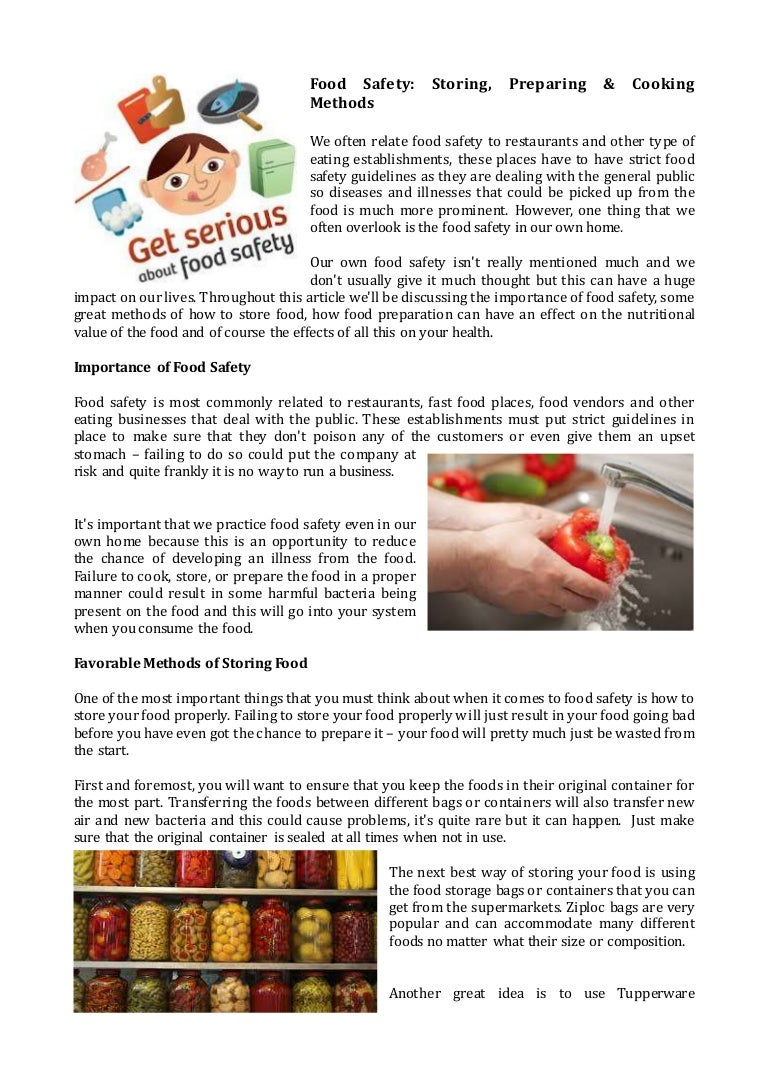 Food Safety: Storing, Preparing & Cooking Methods