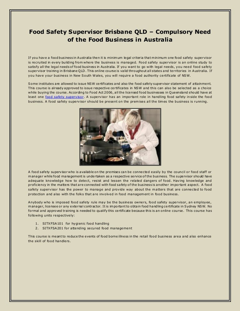 Food Safety Supervisor Brisbane QLD – Compulsory Need of the