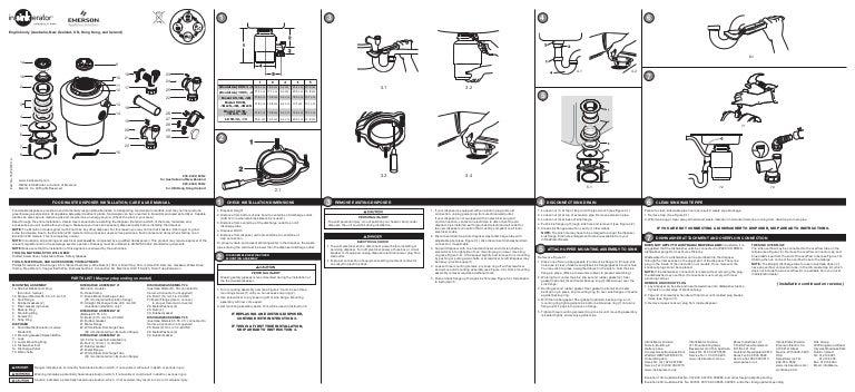 Insinkerator garbage disposal evolution excel user's manual.