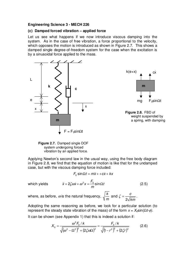Forcedamp2 Free Body Diagram Form A And Solve