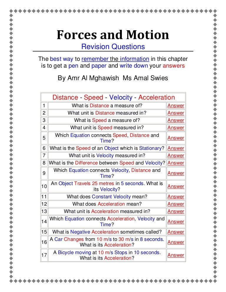 Forces and motion an active worksheet prepared by Amr Almghawish – Motion and Speed Worksheet