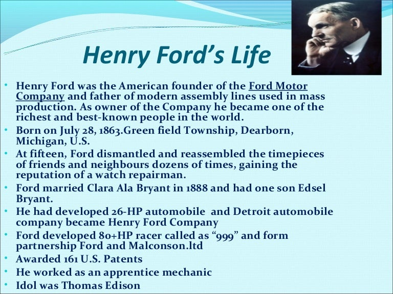 the ford motor company essay Buy ford motor company essay paper online ford motor company was founded in 1903 by henry ford and has continuously remained under family the value chain of the ford motor company is not all that different from other manufacturers in the automobile industry many years of increased.