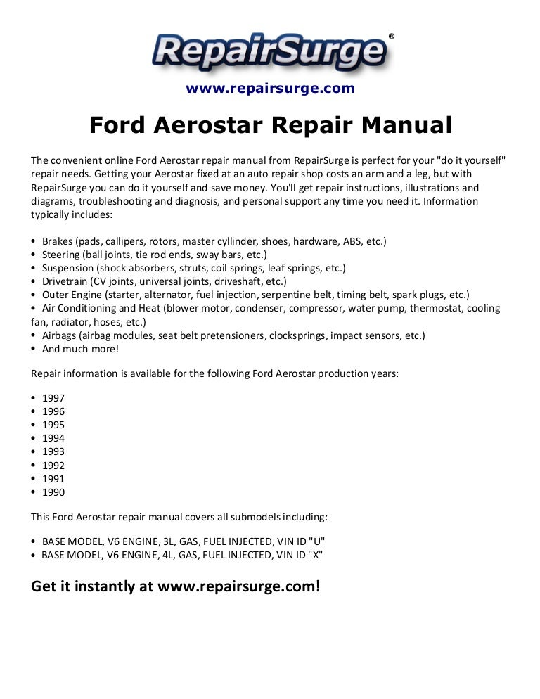 Ford Aerostar Repair Manual 1990 1997