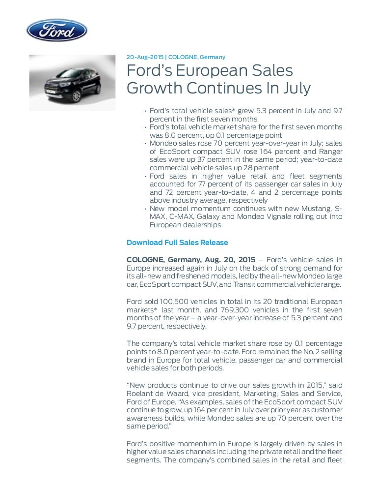 new car releases 2015 europeFord europe sales growth press release