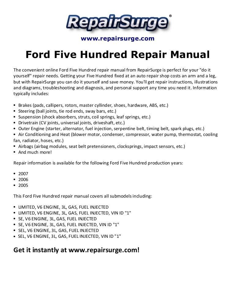 Ford Five Hundred Repair Manual 2005-2007SlideShare