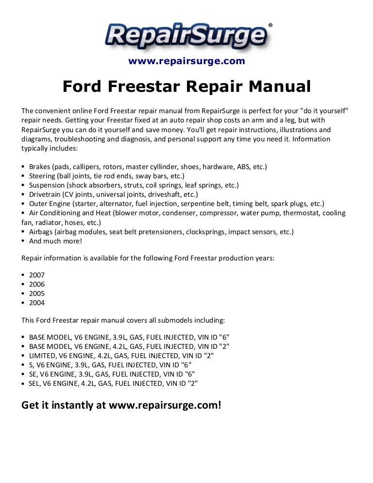 ford freestar repair manual 2004 20072004 Ford Freestar Engine Diagram #8