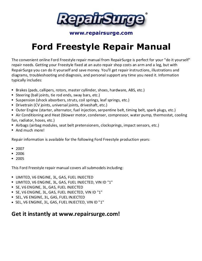 Ford Freestyle Repair Manual 2005-2007SlideShare