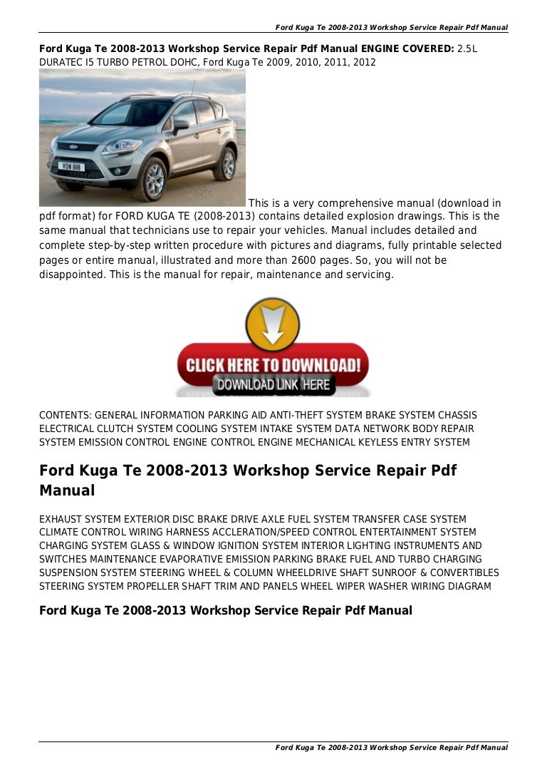 Ford Kuga Te 2008 2013 Workshop Service Repair Pdf Manual F350 Cruise Control Wiring Diagram