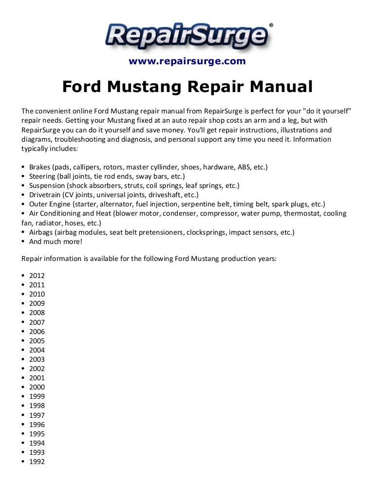 Ford Mustang Repair Manual 1990 2012