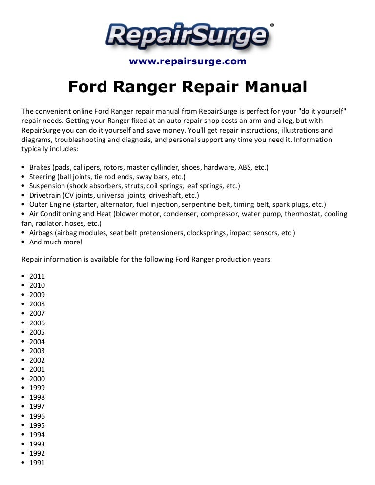 Ford ranger repair manual 1990 2011 asfbconference2016 Images
