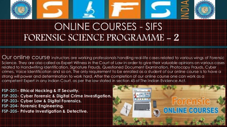 Accredited Forensic Courses Online Register Now