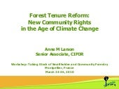 Forest tenure reform: New community rights in the age of climate change