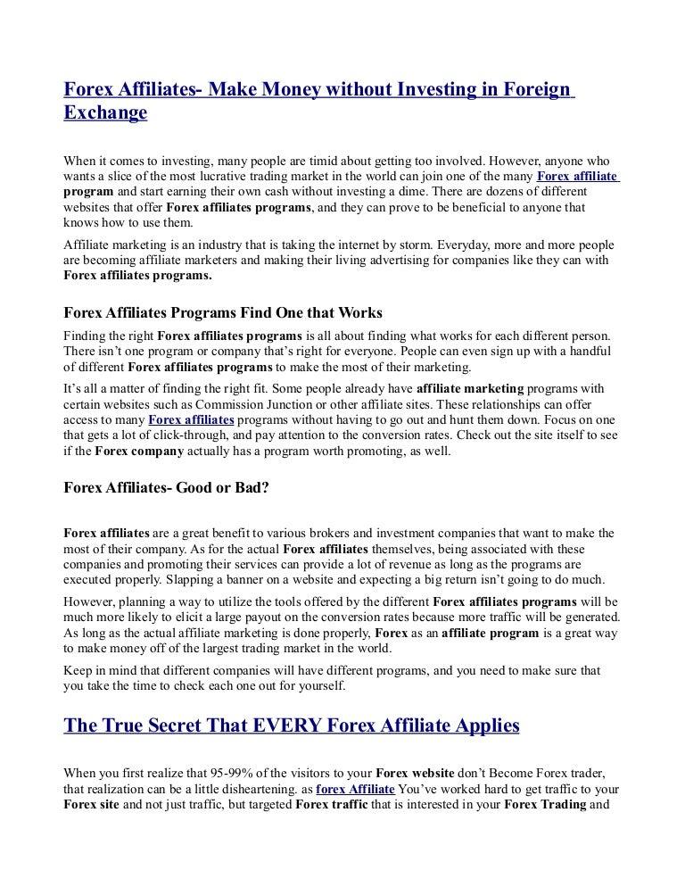 Forex affiliated programs zaradio sam na forexustaad