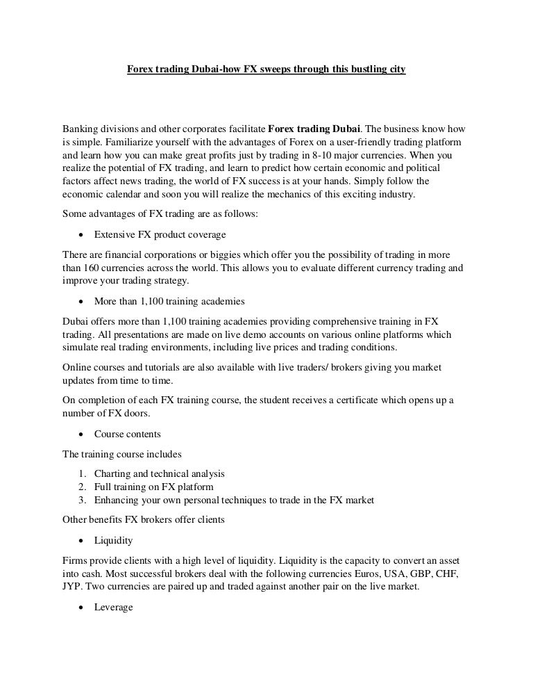 Forex Trading Dubai -