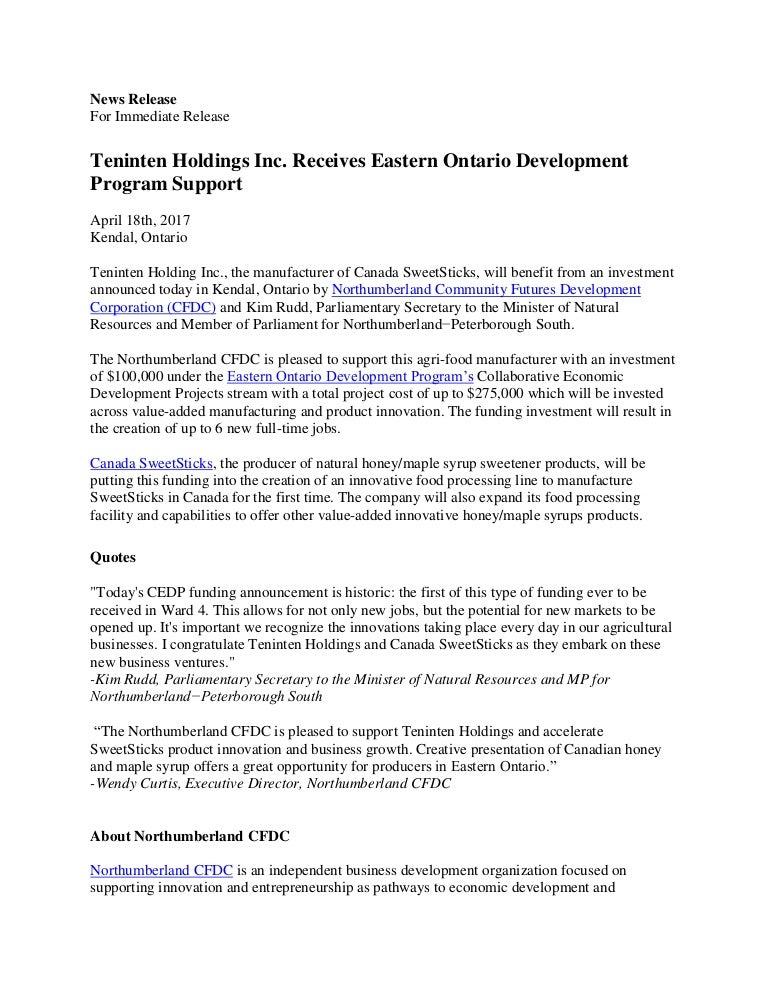 Value-added Food Manufacturer Receives EODP Funding