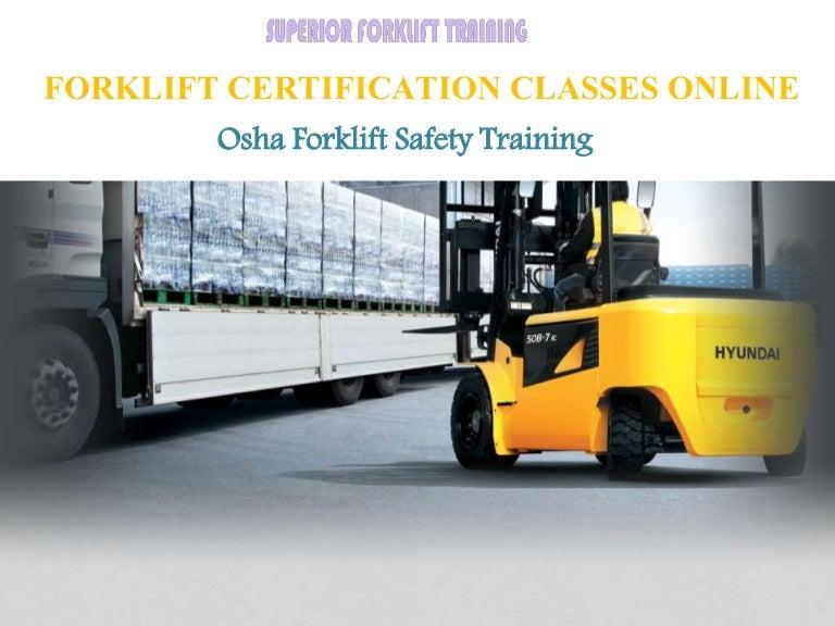 Forklift Certification Classes Online In California