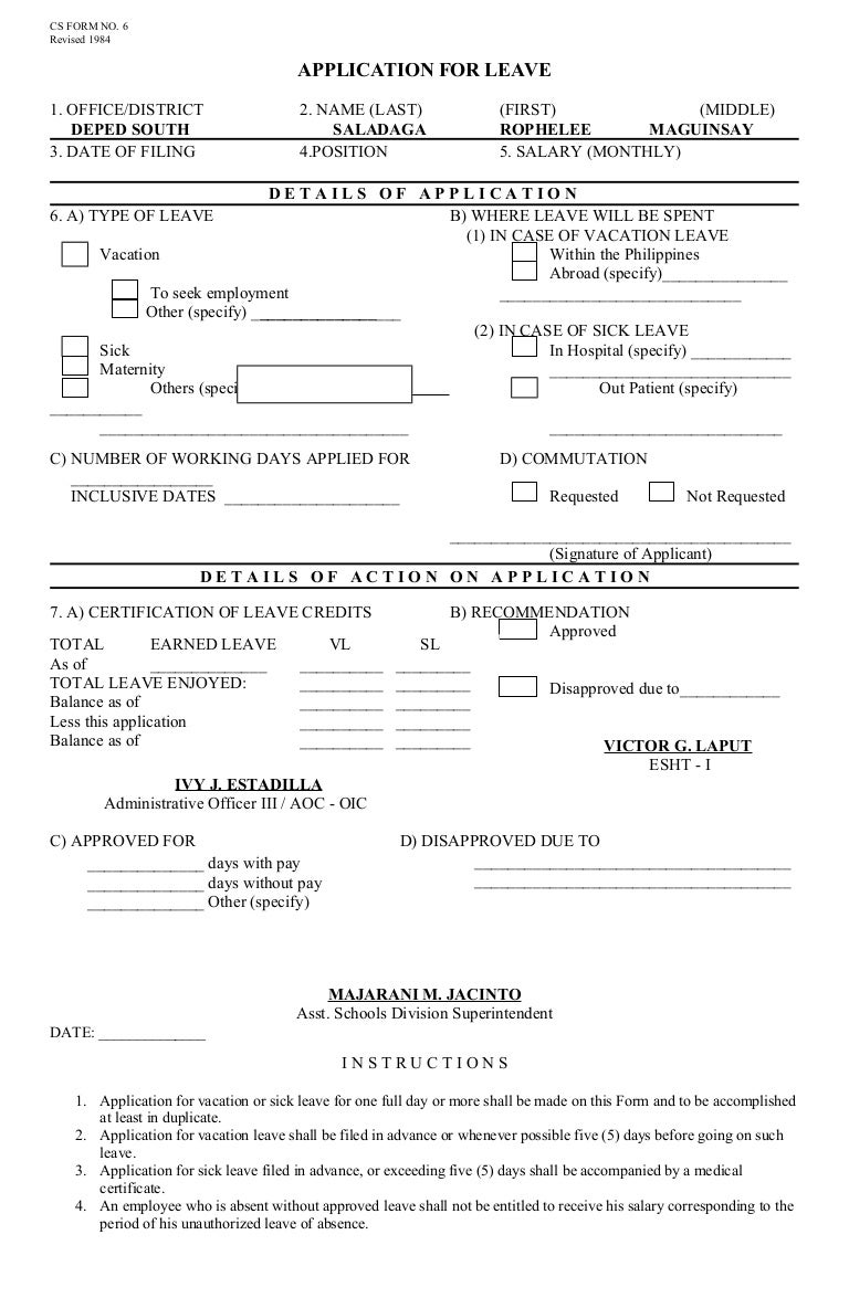 Form 6leaveapplicationform – Leave Application Form for Office