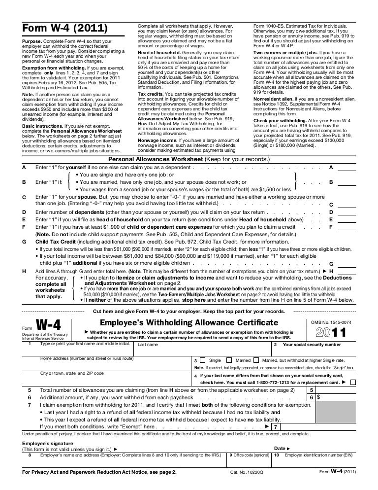 Form w4 – Irs Allowances Worksheet