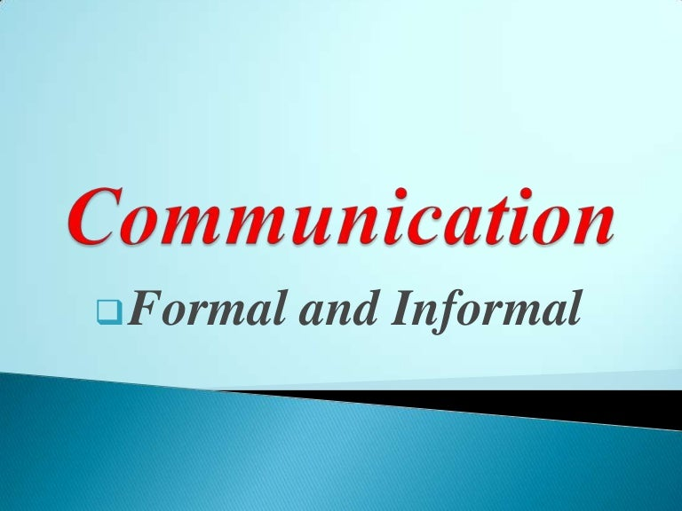 formal and informal channels of communication pdf