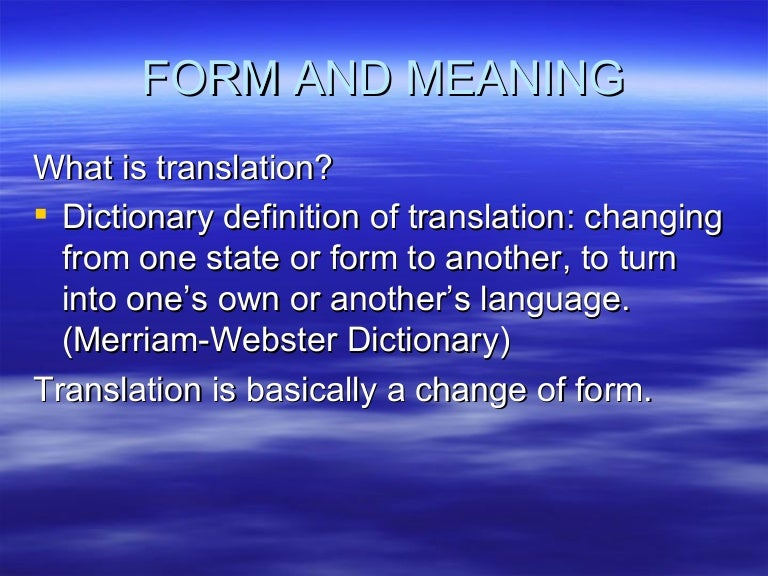 Form And Meaning