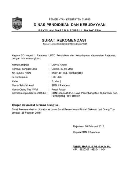 Format Surat Permohonan Mutasi Manual
