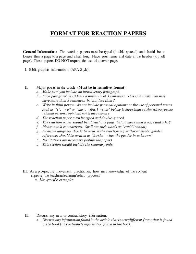 apa reaction paper format