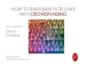 Crowdfunding Training - How to Raise $45k in 30 days.