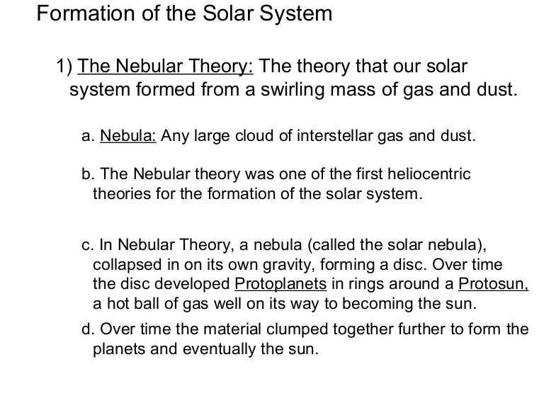 Formation ofthe solar system notes