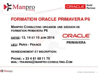 Formation Oracle Primavera EPPM le 13, 14 et 15 Juin 2016 Paris France