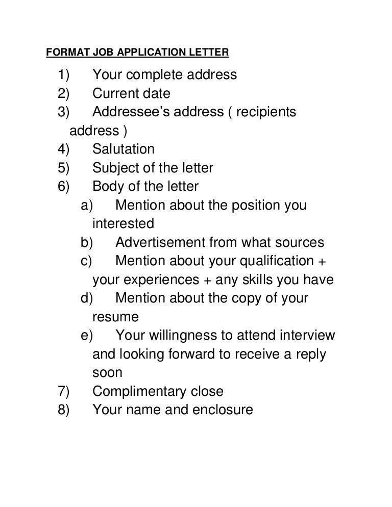 letter of application format