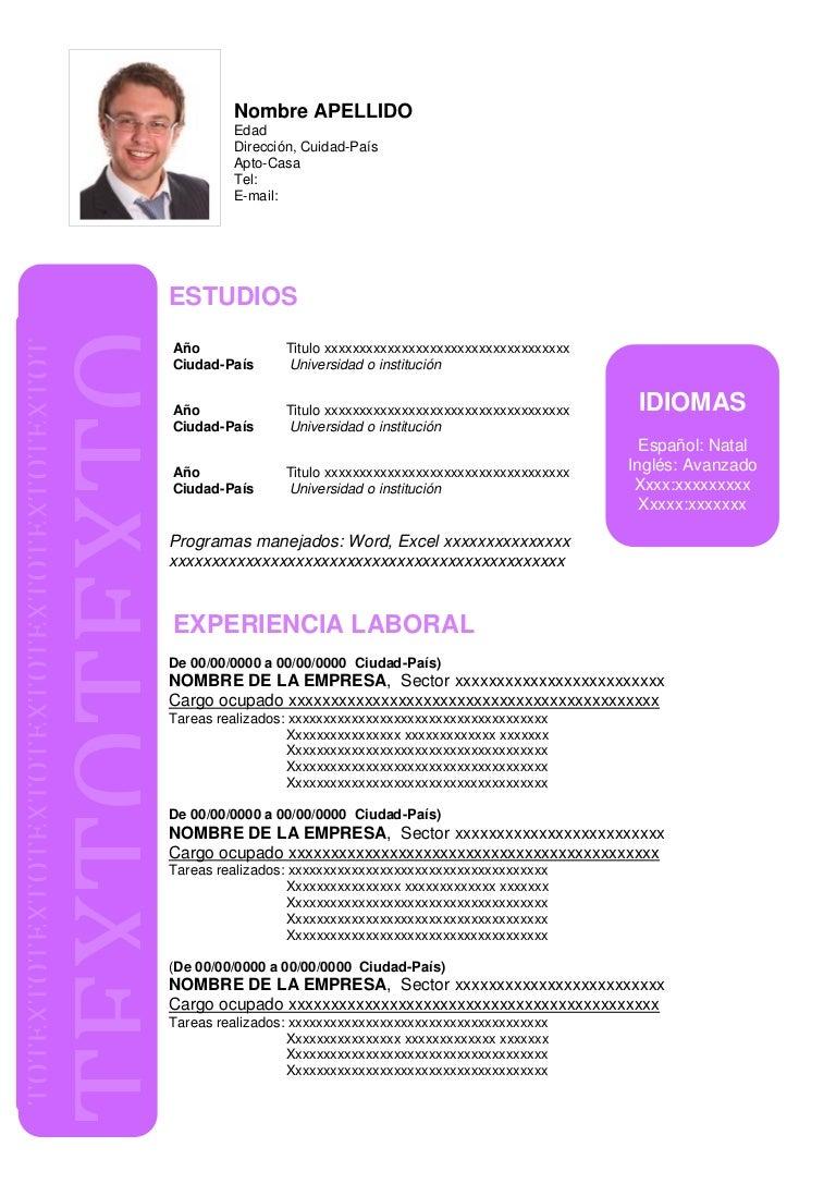 Formato De Hoja De Vida En Word Modelos De Cv