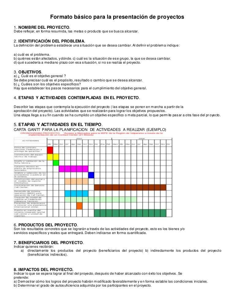 Formato Basico De Presentacion Proyecto