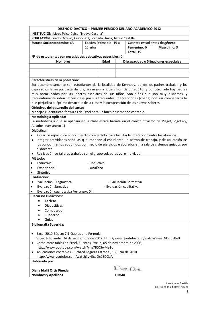DISEÑO DIDÁCTICO - PLANIFICACIÓN DE CLASE