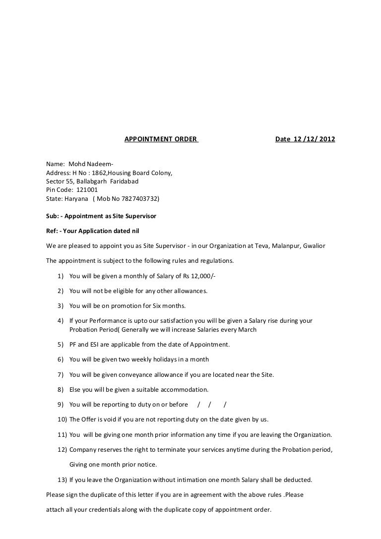 Format of appointment order spiritdancerdesigns Images